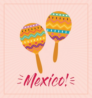 Mexican maracas on striped background design, mexico culture theme