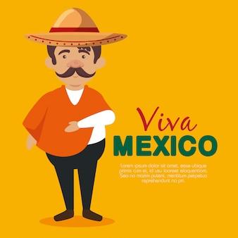 Мексиканец мариачи с шляпой и усами