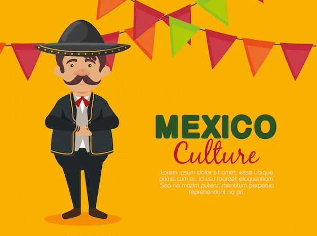Mexican mariachi man with hat and suit