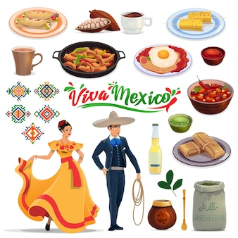 Мексиканские блюда и напитки, люди в карнавальных костюмах. вектор энчилада, какао-бобы и шоколад, фахитас, уэвос ранчеро и тамале, лимонад, помощник и женщина в платье табаско, мужчина в костюме чарро