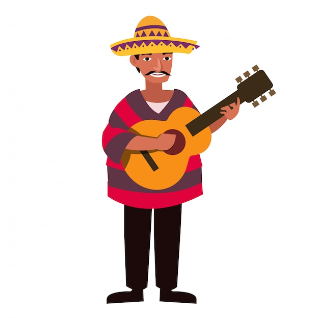 Mexican men with traditional costume and play guitar