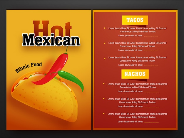 Mexican menu for restaurant and cafe.