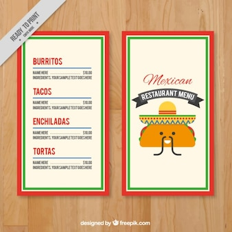Mexican menu with a funny taco