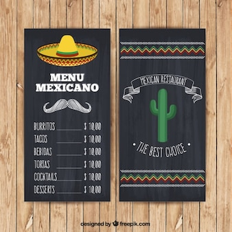 Mexican menu with hat and cactus in blackboard style