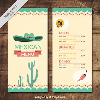 Mexican menu with hat and cactus