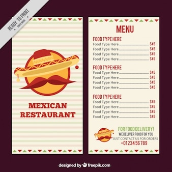 Menù messicano con baffi e cappello messicano
