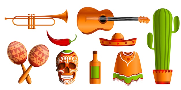 Mexican music icon set, cartoon style