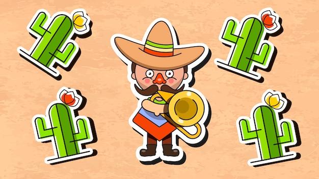 Иллюстрация мексиканского музыканта с мужской одеждой и сомбреро