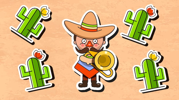 Mexican musician illustration with men native clothes and sombrero