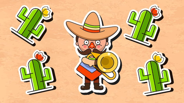Мексиканский музыкант векторная иллюстрация с мужской родной одеждой и плоской векторной иллюстрацией сомбреро