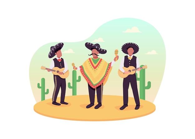 Мексиканские музыканты 2d веб-баннер, плакат. традиционная музыка. гитаристы в сомбреро. марьячи плоские персонажи на фоне мультфильма. патч для печати латинской культуры, красочный веб-элемент