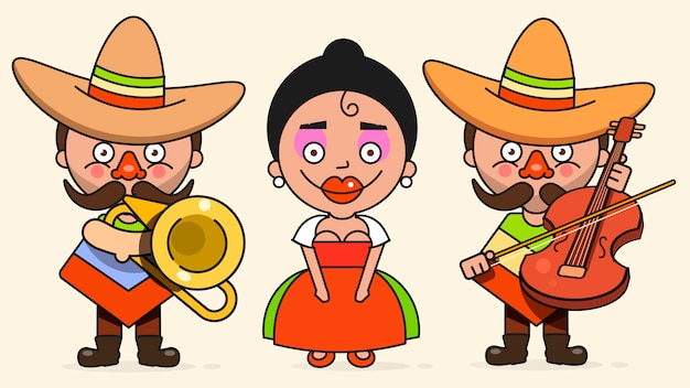 Mexican musicians illustration with two men and a woman with guitars in native clothes and sombrero flat