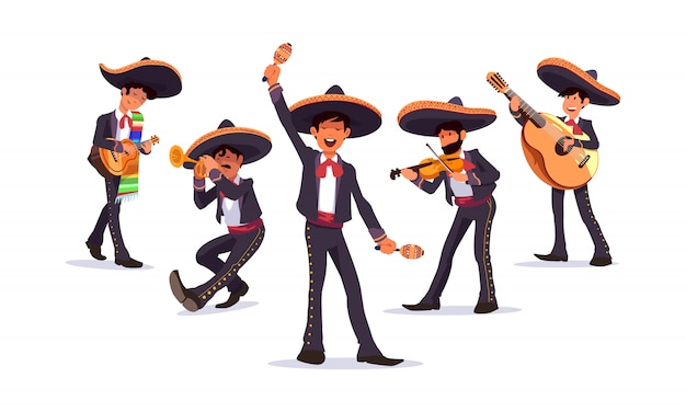 Mexican musicians mariachi band vector set, with guitar and maracas, trumpet and violin.