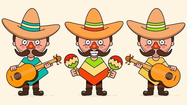 Мексиканские музыканты векторные иллюстрации с тремя мужчинами с гитарами в родной одежде и сомбреро плоский векторные иллюстрации