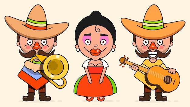 Мексиканские музыканты векторные иллюстрации с двумя мужчинами и женщина с гитарами в родной одежде и сомбреро плоский векторные иллюстрации