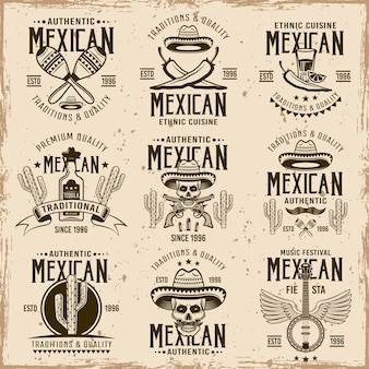 Mexican national attributes and authentic signs, set of  brown emblems, labels, badges and logos in vintage  on dirty background with stains and grunge textures