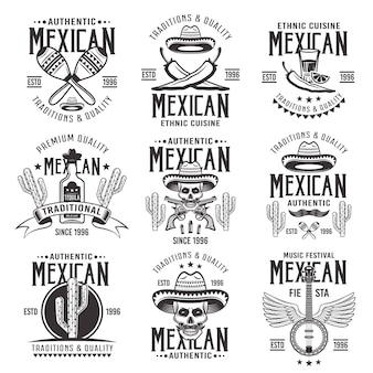 メキシコの国の属性、本物の看板、エンブレム、ラベル、バッジ、ロゴのセットは、白い背景のモノクロヴィンテージで
