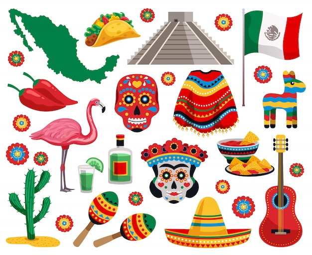 Mexican national symbols culture food musical instruments souvenirs colorful objects collection with tequila tacos mask sombrero