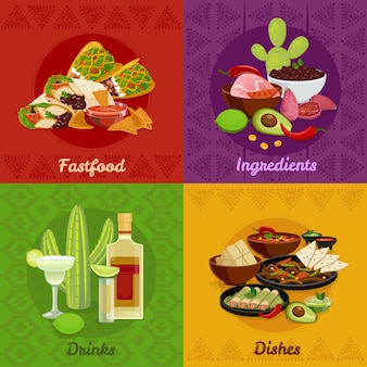 Mexican native food spicy dishes snacks and drinks 4 flat icons square composition banner