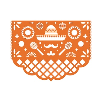 Mexican papel picado greeting card with floral pattern.