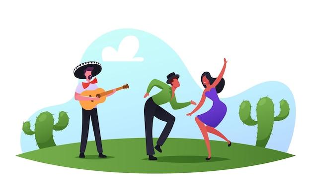 Мексиканская вечеринка, фестиваль синко де майо. артисты оркестра мариачи с гитарой и парой танцоров в традиционных одеждах отмечают праздник национальной музыки. мультфильм люди векторные иллюстрации