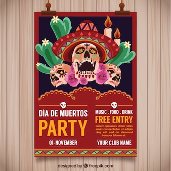 Mexican party poster with creepy skulls