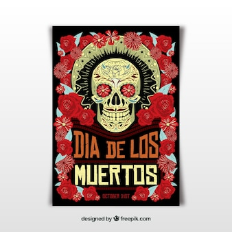 Mexican party poster with creepy style