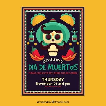 フラットデザインのメキシコのパーティーポスター