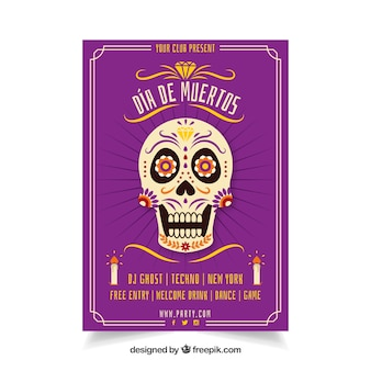 Mexican party poster with funny skull