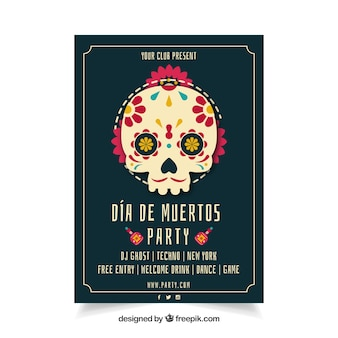 Mexican party poster with lovely skull