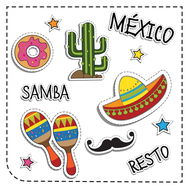 Mexican party sticker applique