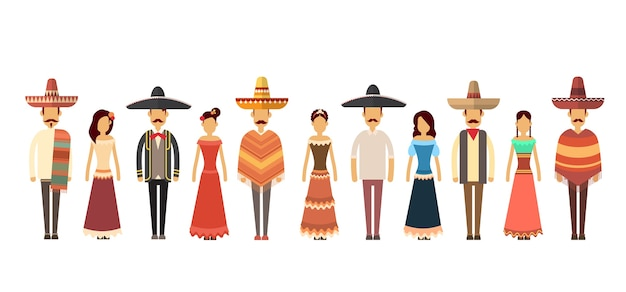 Mexican people group wear traditional clothes full length