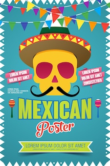 Mexican poster invitation poster to the day of the dead party