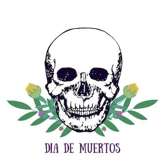 멕시코 판화-dia de muertos. 죽은 포스터의 날. 꽃과 두개골. 벡터