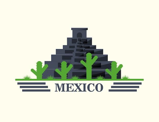 白い背景の上にメキシコのピラミッドとサボテン