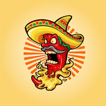 Mexican red hot chili pepper mascot
