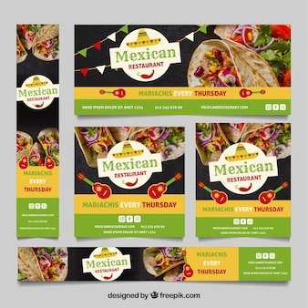 Mexican restaurant banner collection with photos