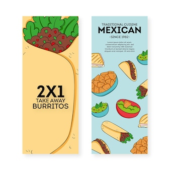 Mexican restaurant banner pack template