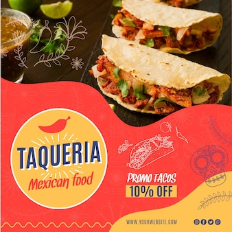 Mexican restaurant flyer square