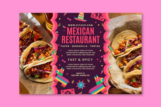 Mexican restaurant food banner template