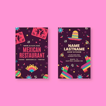 Mexican restaurant food double sided vertical business card