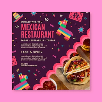 Mexican restaurant food flyer square template