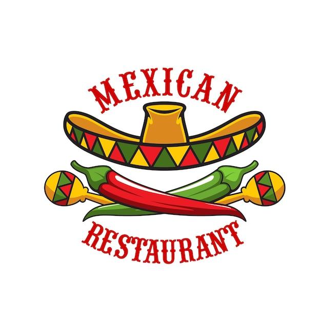 벡터 솜브레로 모자, 마라카스, 붉은 고추, 녹색 할라피뇨의 멕시코 레스토랑 아이콘입니다. 멕시코 요리 향신료 음식과 코미다, 텍스멕스 레스토랑 또는 비스트로 디자인의 축제 솜브레로 상징
