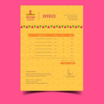 Mexican restaurant invoice template