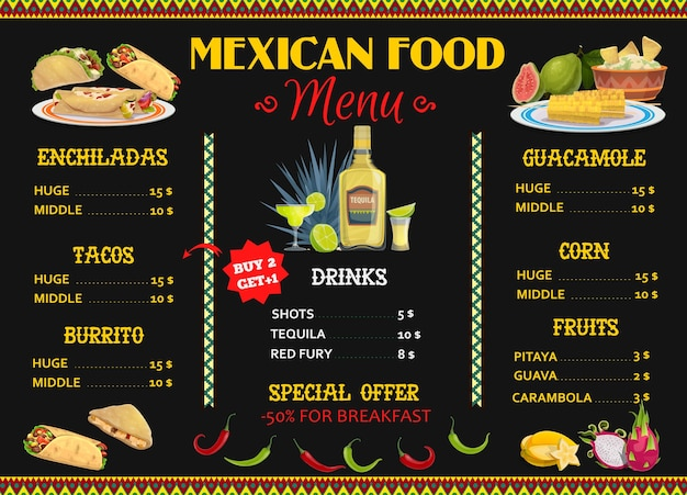 Mexican restaurant menu template with food and drink.