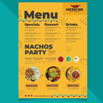 Mexican restaurant menu