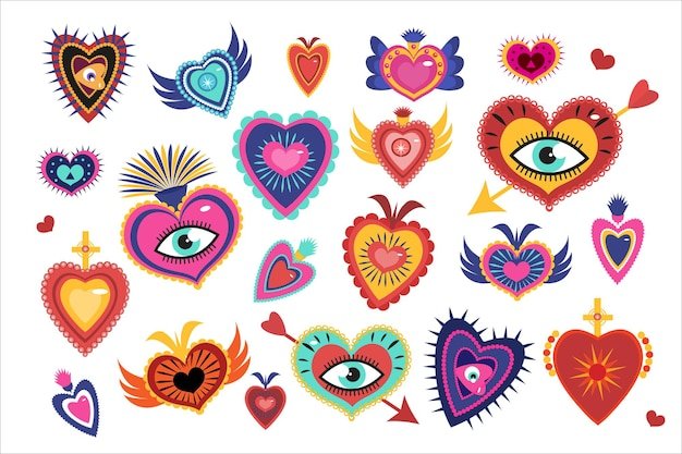 Mexican sacred hearts set, spirit mystical miracles heart. day of the dead dia de los muertos holiday.  illustration.