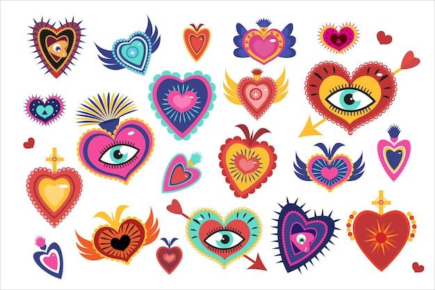 Мексиканские священные сердца установлены, дух мистических чудес сердца. день мертвых праздник диа де лос муэртос. иллюстрация.