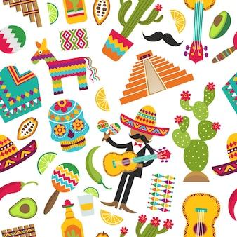 メキシコのシームレスなパターン。さまざまなメキシコのシンボルのカラー写真。