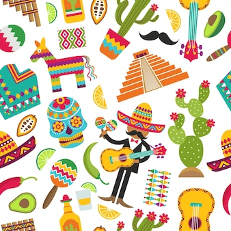 Mexican seamless pattern. colored pictures of various mexican symbols.